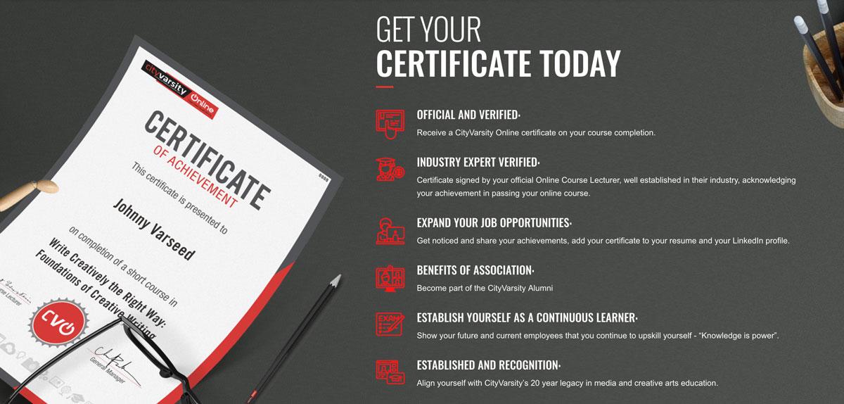 CityVarsity Online certificate